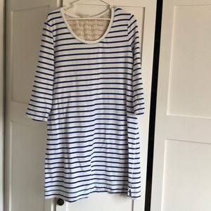 White and bright blue stripped 3/4 sleeve dress